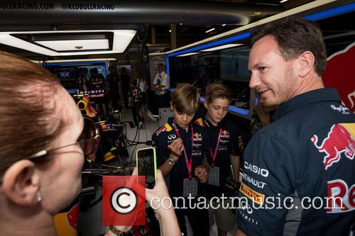 Romeo Beckham, Christian Horner and Louise Adams 6