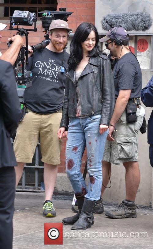 Krysten Ritter on the set of 'Jessica Jones'