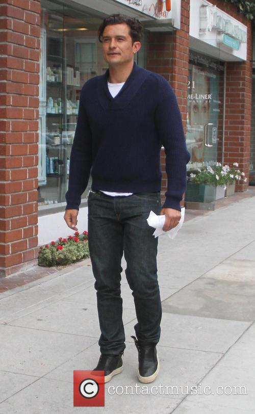 Orlando Bloom leaves an office in Beverly Hills