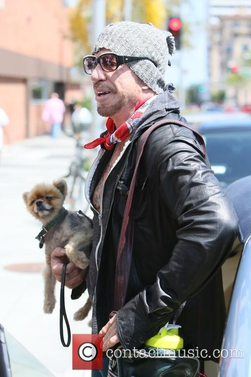 Mickey Rourke leaving Cafe Roma