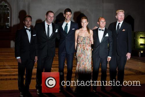 Novak Djokovic, Jelena Djokovic and Boris Becker 6