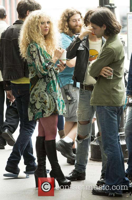 Juno Temple on the set of HBO Untitled...