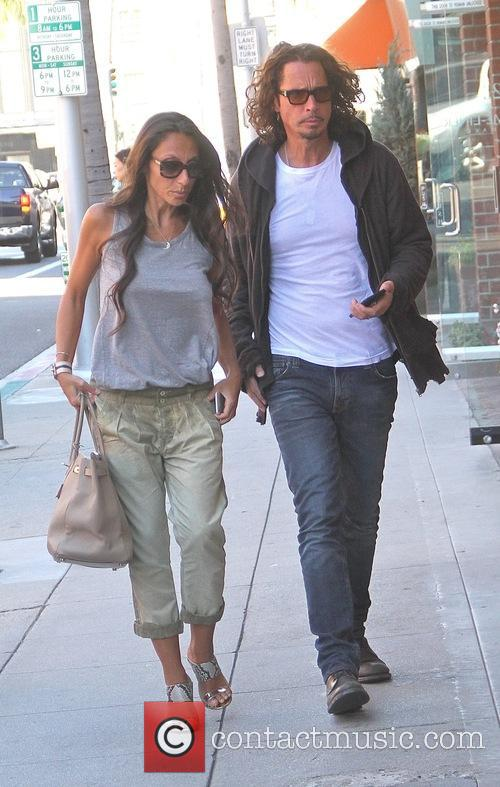 Musician Chris Cornell with his wife Vicky Karayiannis...