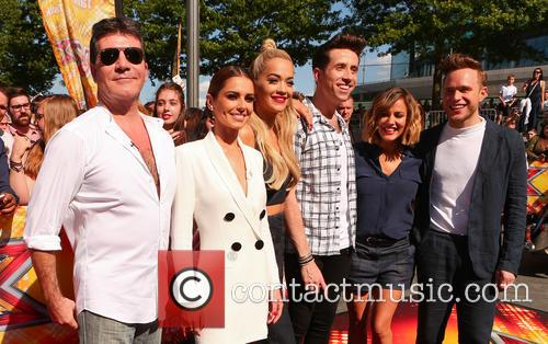 Cheryl Ann Fernandez-versini, Simon Cowell, Nick Grimshaw, Rita Ora, Olly Murs and Caroline Flack 5