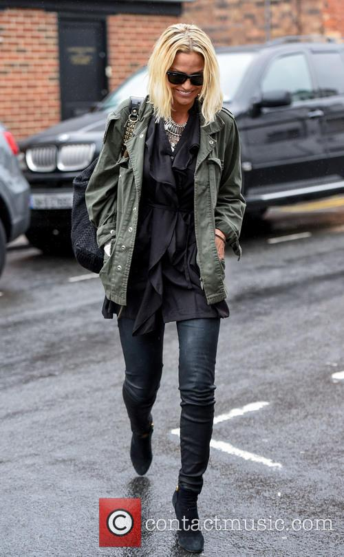 Sarah Harding arrives at Signal Radio