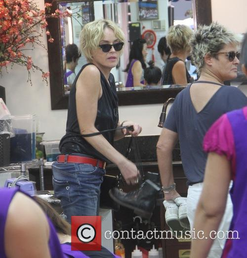 Sharon Stone at a nail salon in Beverly...