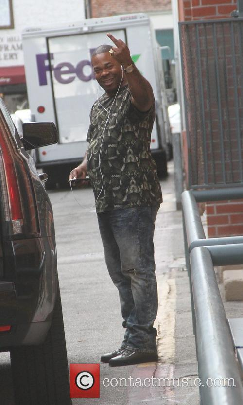 Busta Rhymes leaves an office in Beverly Hills