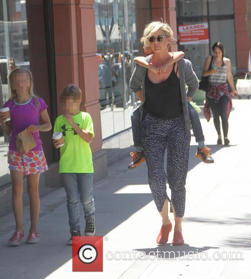 Jenna Elfman out with her children in Beverly...