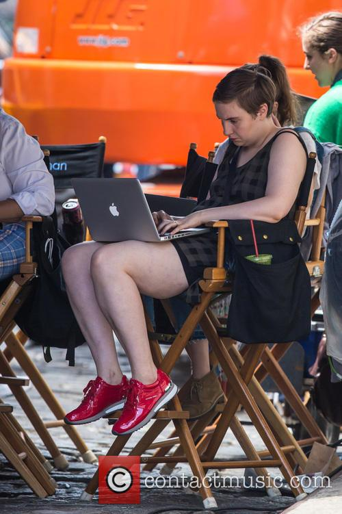 Lena Dunham on the set of her TV...