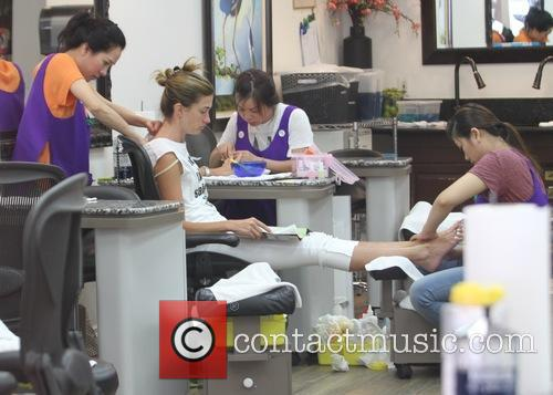 Rhea Durham visits a nail salon in Beverly...