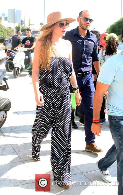 Lindsay Lohan leaving the Greek Island Mykonos