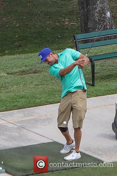 Josh Duhamel plays golf in Bel-Air