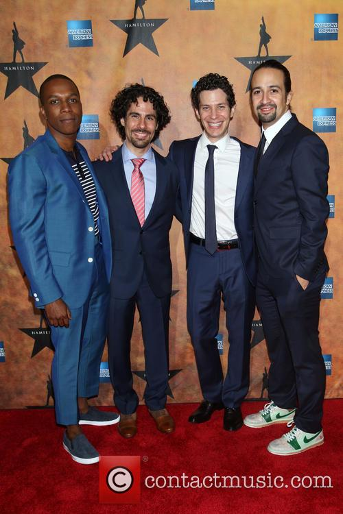 Leslie Odom Jr., Alex Lacamoire, Thomas Kail and Lin-manuel Miranda 1