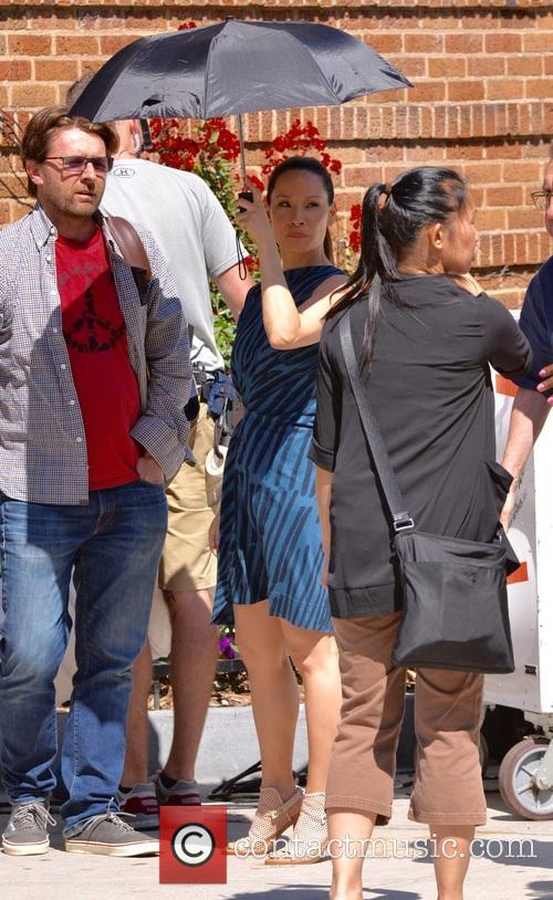 Lucy Liu on the set of 'Elementary'
