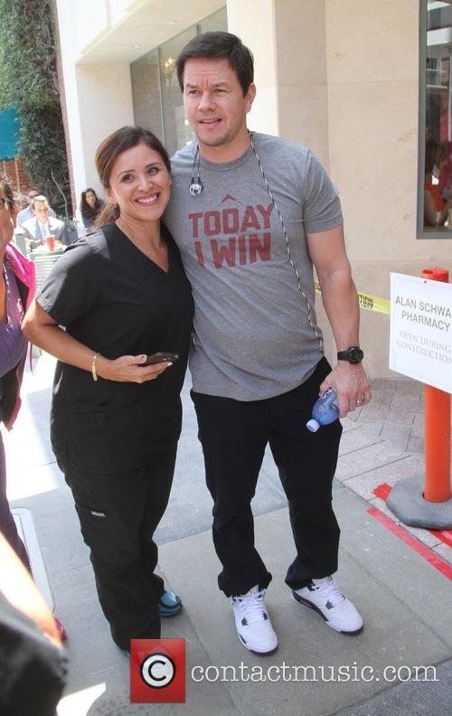 Mark Wahlberg poses with fans in Beverly Hills
