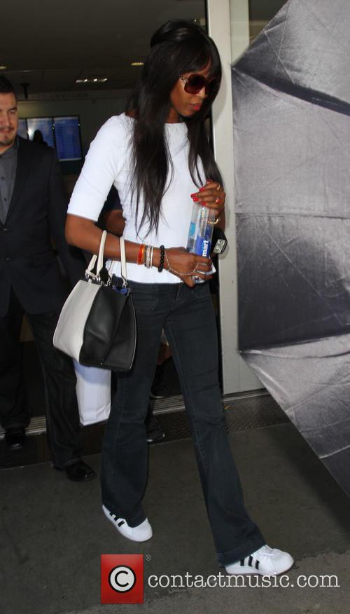 Naomi Campbell arrives at Los Angeles International Airport