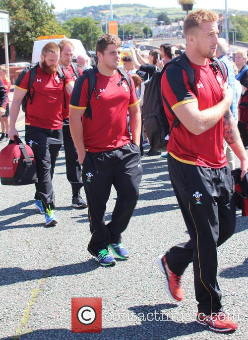 The Welsh rugby team arrive in North Wales