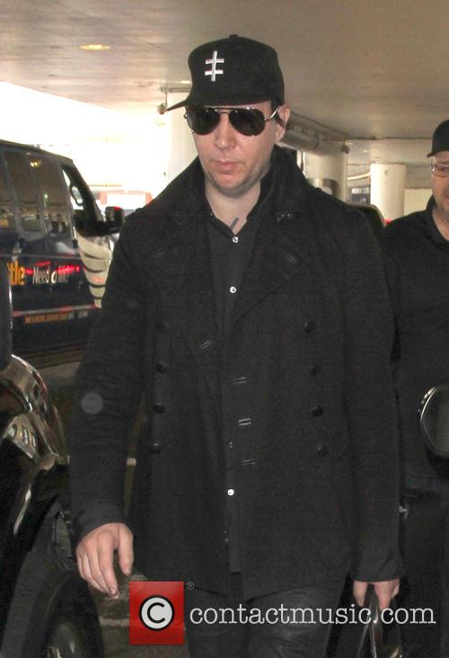 Marilyn Manson arriving at Los Angeles International Airport