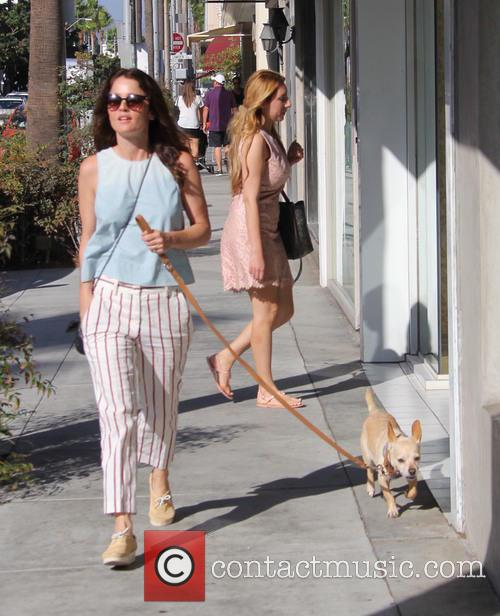 Robin Tunney out walking her pet dog