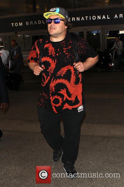Jack Black arrives at Los Angeles International (LAX)...