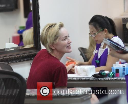 Sharon Stone gets a manicure