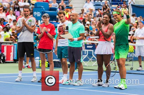 Novak Djokovic, Guest, Jack Sock, Saun T, Serena Willams and Rafael Nadal 2
