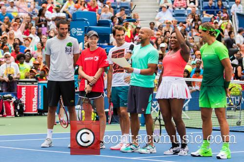Novak Djokovic, Guest, Jack Sock, Saun T, Serena Willams and Rafael Nadal 1