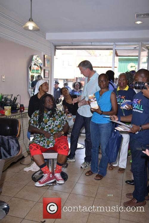 Mayor De Blasio visits five boroughs of New...