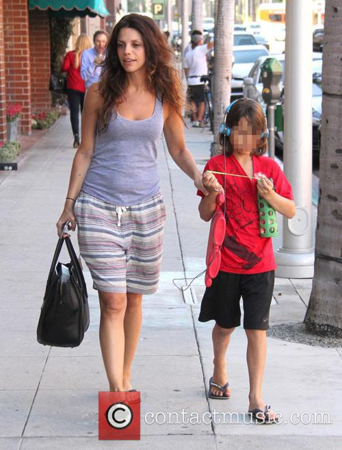 Vanessa Ferlito and her son Vince out in...