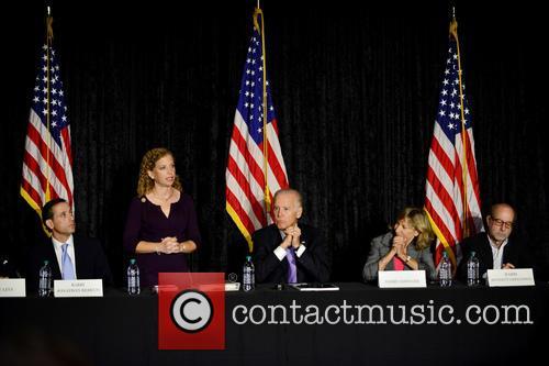 Rabbi Jonathan Berkun, Rep. Debbie Wasserman Shultz, Vice President Joe Biden, Debby Eisinger and Rabbi Bennett Greenspon 2
