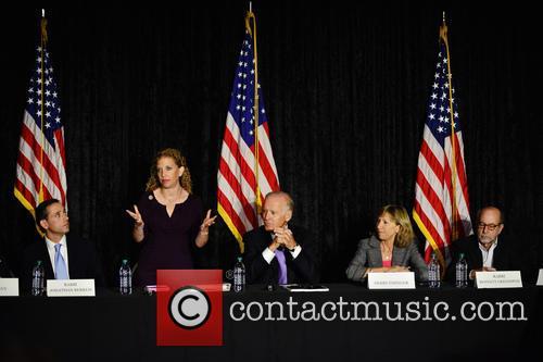 Rabbi Jonathan Berkun, Rep. Debbie Wasserman Shultz, Vice President Joe Biden, Debby Eisinger and Rabbi Bennett Greenspon 1