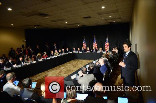 Bruce Levy, Jane Levy, Rabbi Jonathan Berkun, Rep. Debbie Wasserman Shultz, Vice President Joe Biden, Debby Eisinger, Rabbi Bennett Greenspon and Jenny Enslein 6