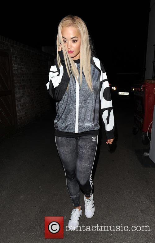 Rita Ora leaving a recording studio, wearing an...