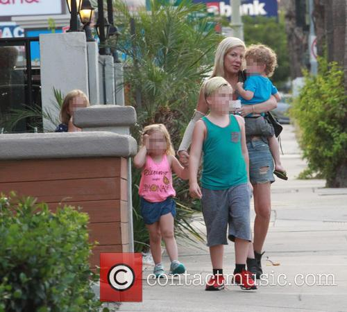 Tori Spelling takes her children for lunch at...