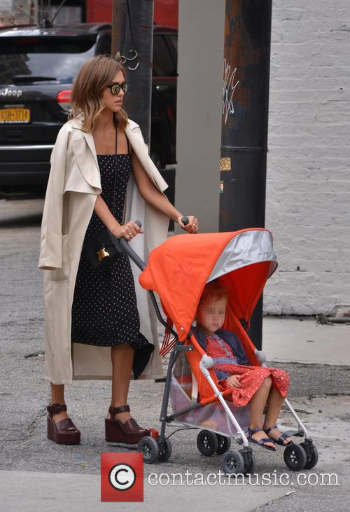 Jessica Alba out in Soho with her daughter...