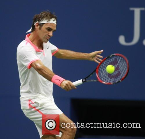Roger Federer in action at the 2015 US...