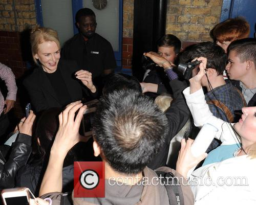 Nicole Kidman leaves the Noel Coward Theatre after...