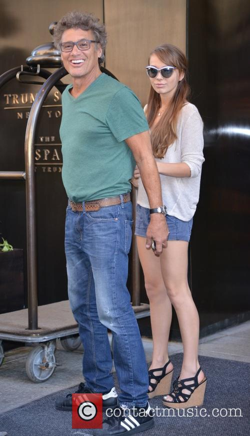 Steven Bauer outside his hotel with a friend...