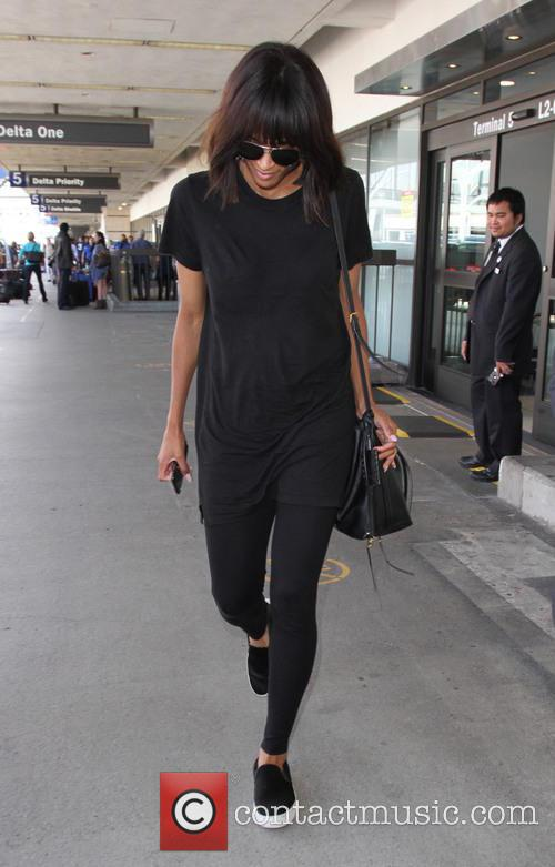 Ciara arrives at LAX airport alone