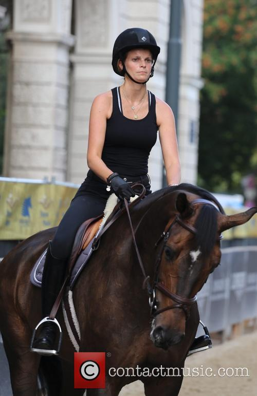 Athina Onassis at her first training for the...