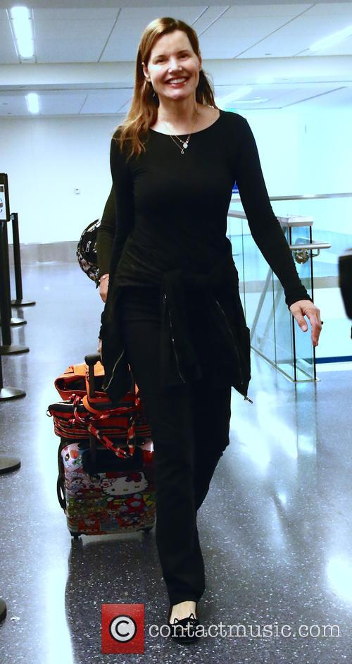 Geena Davis arrives at Los Angeles International (LAX)...