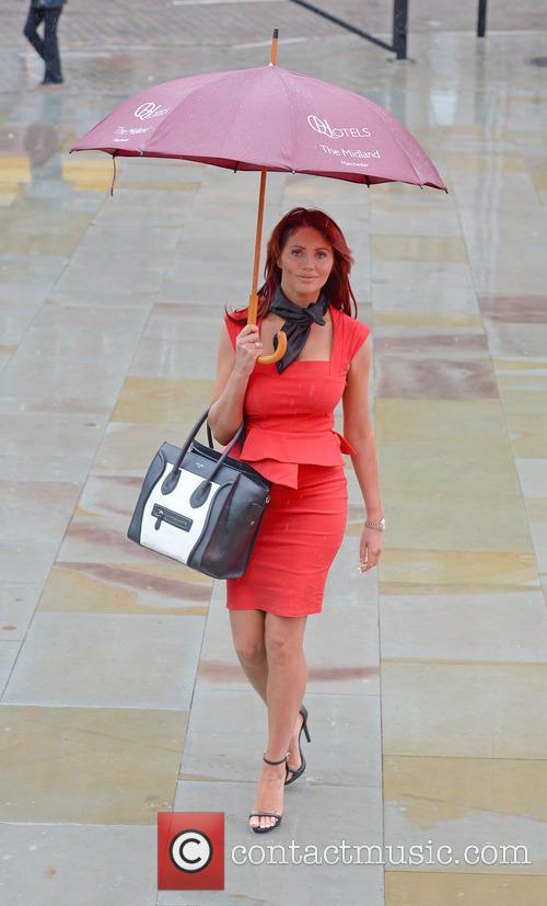 Amy Childs arrives at Manchester Central