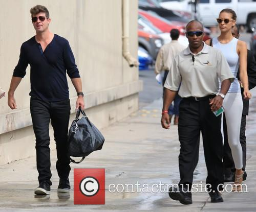 Robin Thicke and April Love Geary at Kimmel...