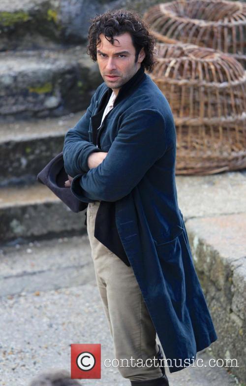 Aidan Turner filming Poldark