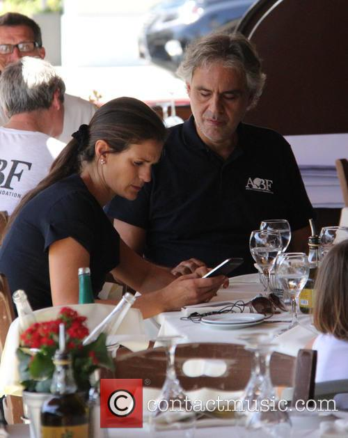 Tenor Andrea Bocelli out at lunch in Beverly...