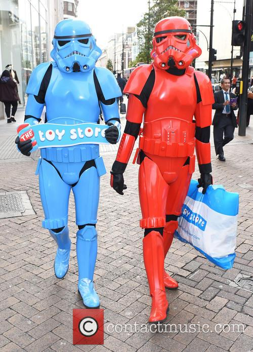 Stormtroopers promote new toy store opening