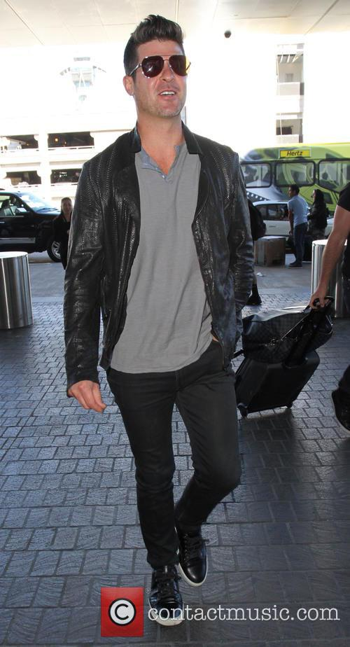 Robin Thicke departs from Los Angeles International Airport