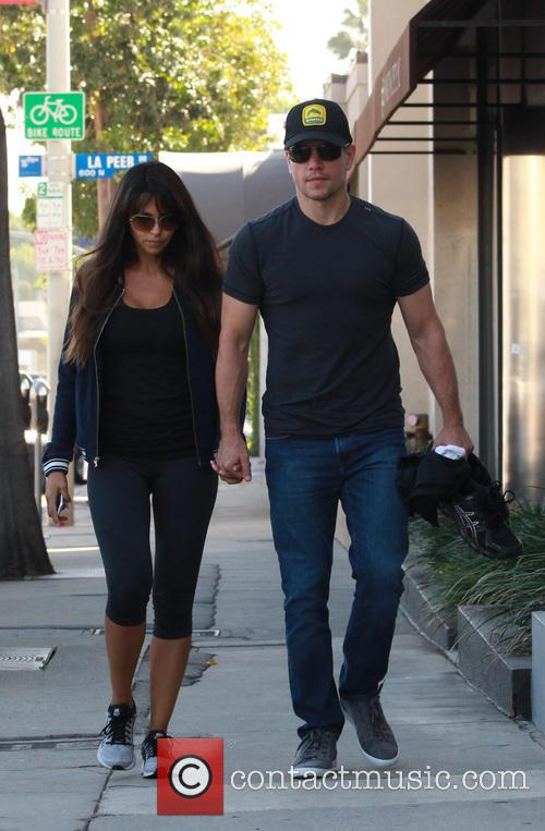 Matt Damon and his wife at the gym