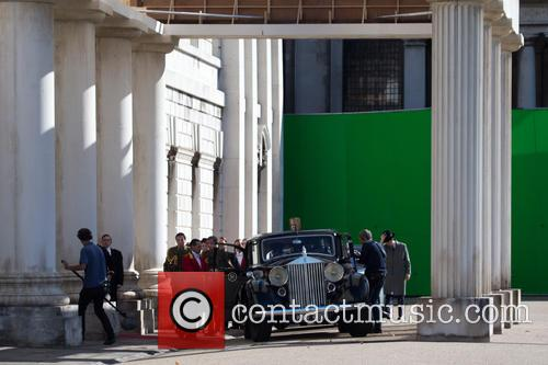 Matt Smith and Claire Foy filming scenes for...