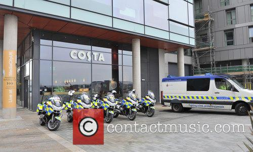 David Cameron and Police Escort Waits For The Prime Minister Media City 1